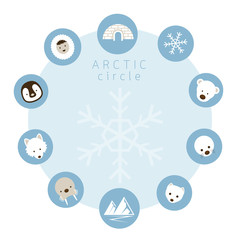 Arctic Animals, People, Icons Circle Frame, Winter, Nature Travel and Wildlife