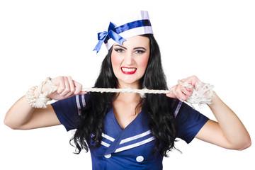 Navy pin up poster girl breaking rope