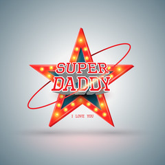Super daddy with star retro.