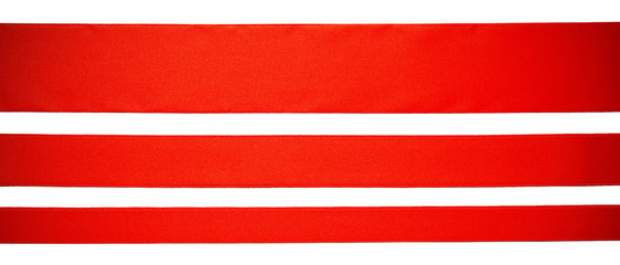 three red horizontal ribbons, isolated on white