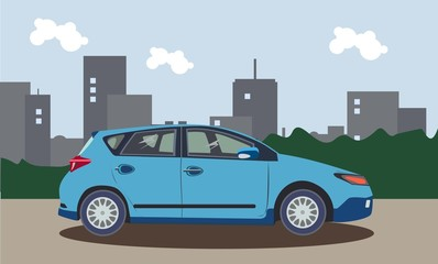 The car on a background of the city. Vector illustration.