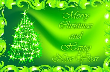 Wishes for Christmas and the New Year. Christmas card. Gift. Green.