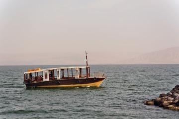 Boat Sea of Galilee near Tiberias, Israel.
