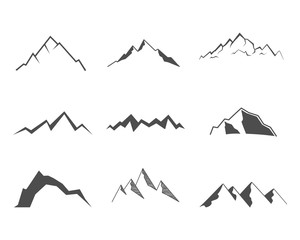 Set of mountain elements. Outdoor icon. Hand drawn snow ice mountain tops, decorative symbols isolated. Use them for camping logo, travel labels, climbing or hiking badges. Vector illustration