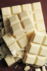 White chocolate pieces, close-up