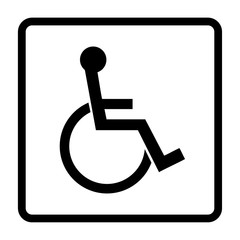 Disabled sign. Handicapped person icon in a square isolated on white background. Illustrations of warning emblem and permissive symbol for the disabled. Vector