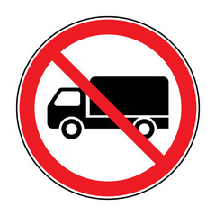 No truck prohibition sign. No lorry or no parking icon in the red circle isolated on white background. Illustrations of prohibiting warning symbol for trucks. No allowed sign. Stock Vector