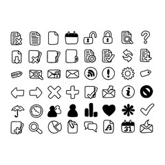 illustration vector doodle hand drawn of black and white computer icons