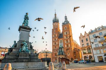 Widok na centrum starego miasta w Krakowie