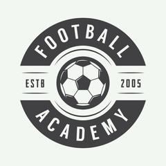 Vintage soccer or football logo, emblem, badge.