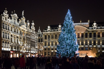Christmas market at Grand Place, Brussels, Begium