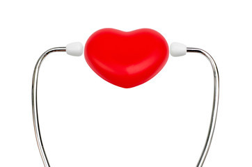 stethoscope and red heart with text background