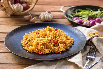 spicy indonesian fried noodle ready to eat