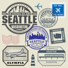 Retro postage USA stamps set