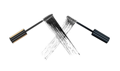 The concept of the duel of quality mascara. Two stroke brushes f