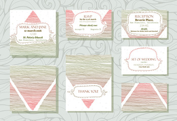 Set of wedding cards (invitation, thank you card, RSVP card and reception card) with stylish stripe design, based on triangles. Raster illustration, red and green.
