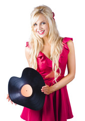 Beautiful Blonde with Heart-Shaped Record