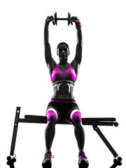 Fototapete - woman fitness exercises weights silhouette