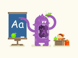 Cartoon monster teaches alphabet