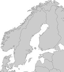 Karte von Skandinavien - Grau