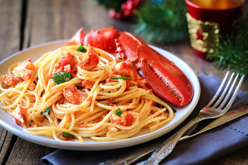 Spaghetti all'astice or Lobster spaghetti for Christmas