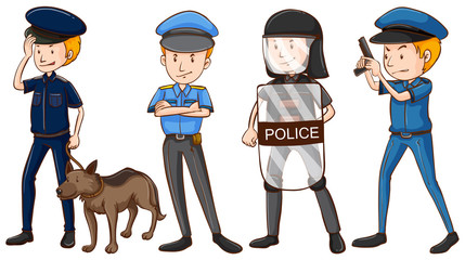 Police in different uniforms