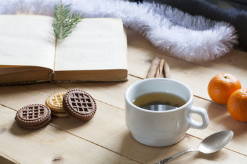 Cup of hot tea with books, cookies and tangerines on light wooden table.