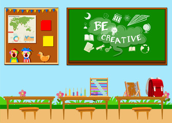 Classroom full of objects