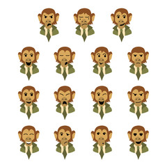 Flat monkey-businessman face expression set