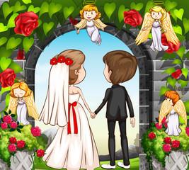 Wedding couple at the rose garden
