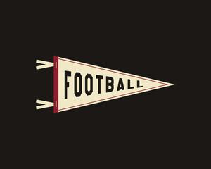 College Football Pennant Banner Icon. Sport flag, training camp emblem. University team label element. Vector sign