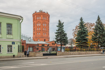 """Water Tower, 1862 on the territory of the information and educational center Vodokanal, the Museum """"The Universe of Water"""". St. Petersburg"""