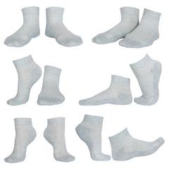 female gray socks isolated on white