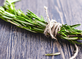 Close-up of Rosemary bound