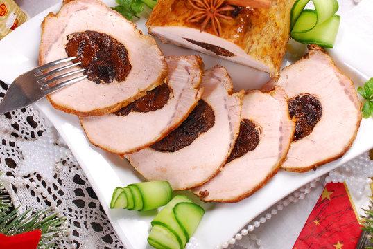 plum stuffed pork loin for christmas