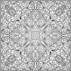 Abstract vector black square lace design in mono line style - ma