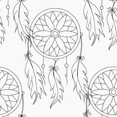hand to draw a seamless pattern Dreamcatcher