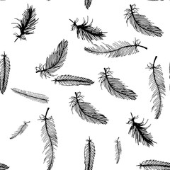 hand draw seamless pattern of black and white feathers