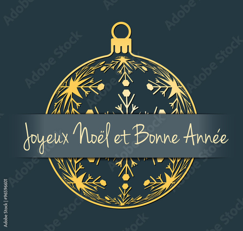 French merry christmas and happy new year greeting card gold french merry christmas and happy new year greeting card gold silhouette of christmas ball with m4hsunfo