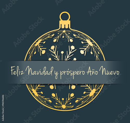 Spanish merry christmas and happy new year greeting card gold spanish merry christmas and happy new year greeting card gold silhouette of christmas ball with m4hsunfo