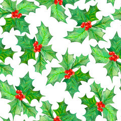 Seamless pattern with branches with the red berries and green leaves (holly tree) painted in watercolor on a white background