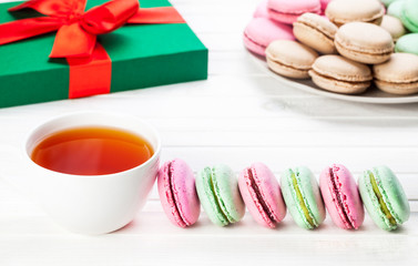 Colorful French macarons breakfast