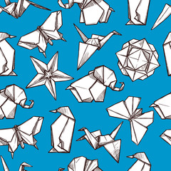 Origami paper folded figures seamless pattern