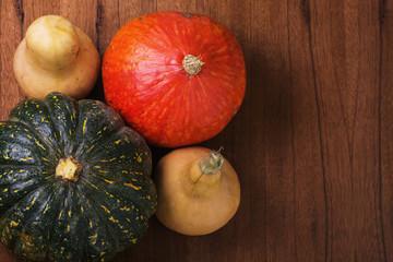 Varieties of pumpkins horizontal