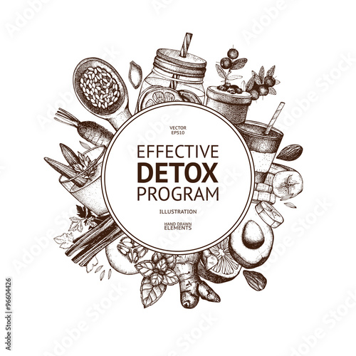 Vector frame design with hand drawn detox illustration. Organic food ...