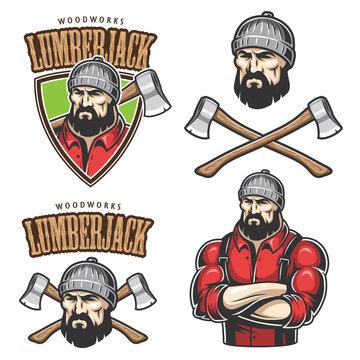 Vector illustration of lumberjack emblems