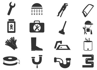 Plumbing related vector icons