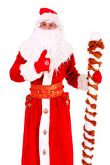 Christmas Santa Claus thumbs up. Portrait Isolated on White Background