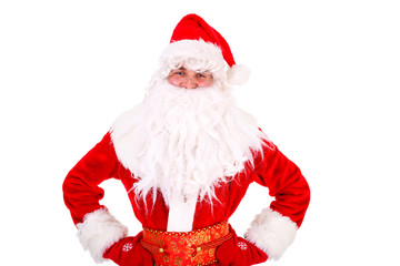 Christmas Santa Claus Portrait. Thinking with hands folded. Isolated on White Background