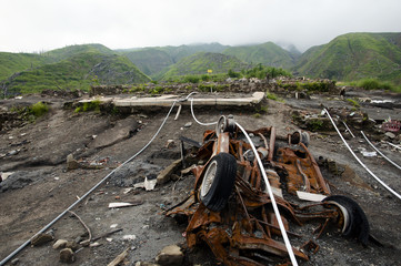Aftermath of 2010 Mount Merapi Volcano Eruption - Indonesia